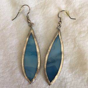 Beautiful Blue Stained Glass Earrings